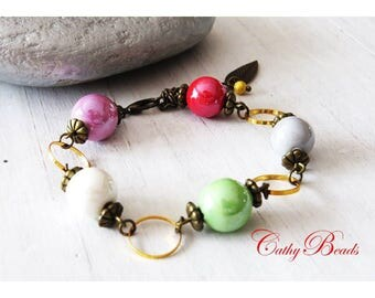 Bright colorful ceramic beaded bracelet
