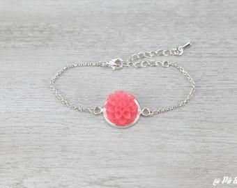 Silver Flower bracelet coral #1163