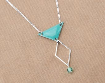Short silver plated necklace 925 #1440 Mint Green