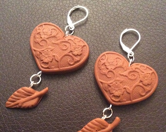 Earrings Baroque hearts and leaves for various occasions!