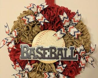 Burlap baseball Wreath, baseball wreath, sports wreath