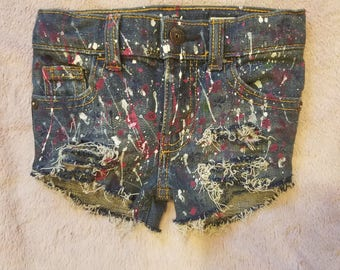 """Girls """"Pretty Girl"""" hand painted and distressed shorts"""