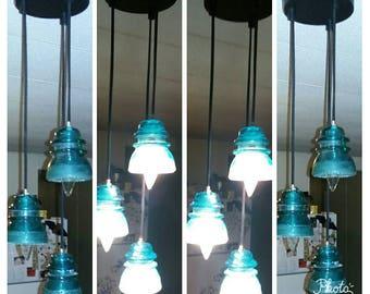 Glass insulator etsy for Telephone insulator light fixture