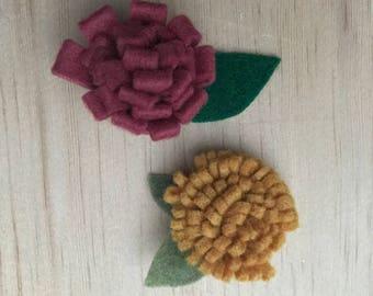 Felt Flower Hair Clip set - plum & mustard