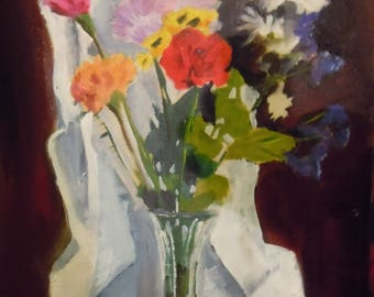 Floral still life with drapery