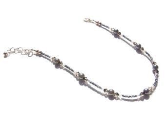 Hematite Grey Pearl Beaded Ankle Bracelet 10