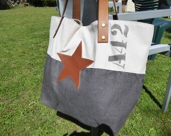 Star linen cotton 100% leather tote bag hand-made in France unique creation