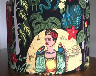 Frida Kahlo Lampshade Handmade Drum Lampshade Feminism Unique Gift for artist 40cm Boho Ceiling Shade Feminist Frida Lampshade