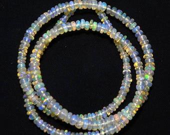 "Natural Ethiopian welo opal smooth beads 2.5-4 M.M. 16"" strand/necklace, welo opal roundel beads necklace, fire opal beads strand :-AJ3"