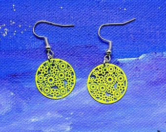 Lime green studded earrings