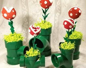 Mario Party Decorations// Mario Centerpieces// Mario Party// Mario Piranha Plant Pipe// Piranha Plant Decoration// Mario Birthday Party