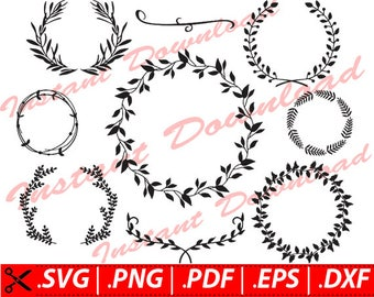 Leaf Wreath SVG, Wreath Clipart svg, Leaf Wreath Clip Art SVG, Silhouette Leaf Wreath svg, Leaf SVG, Wreath Svg, monogram leaf wreath svg