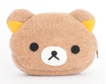 Rilakkuma Bear Kawaii Sewn Felt Coin Purse/Pouch / Bag