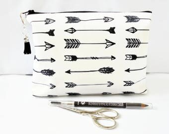 Gifts for her, Wash bag, arrow print, travel bag, cosmetic bag, zip bag, make up bag.