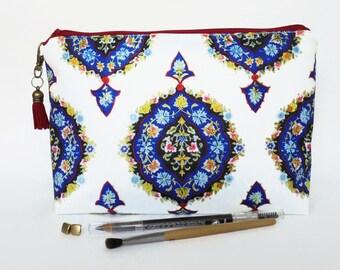 Gifts for her, Wash bag, ornate, boho, gypsy, travel bag, toiletries, cosmetic bag, zip bag, make up bag.