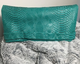 Faux python leather clutch