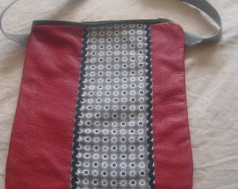Red leatherette bag