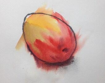 Original Watercolor & Charcoal Mango Painting