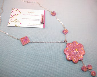 """Cloud"" necklace in polymer clay pink tone"