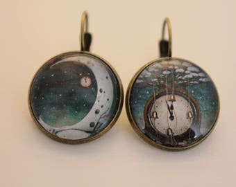 """Earrings """"time of the Moon"""" cabochon bronze stud earring"""