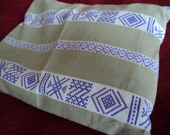 Small heating pad cotton beige/purple and white