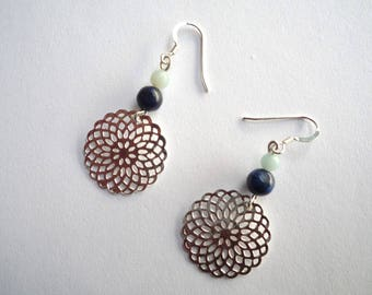 Earrings dangling Rosalie silvery blue and green - Lapis Lazuli and Amazonite