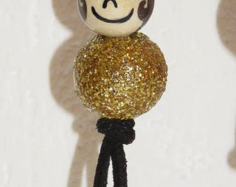"""Necklace for girl - girl - glitter - snowman with wooden beads """"smile ball"""" fully customizable and hand painted figurine"""