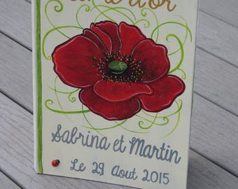 Guestbook for wedding theme poppies