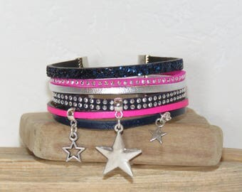 Cuff Bracelet, multi-row, Blue Navy, neon pink, silver, leather, suede glitter, Star charm, women bracelet, Christmas gift idea