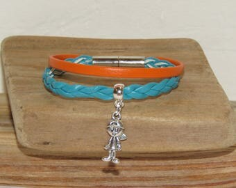 Boy, turquoise and orange colors, and magnetic clasp braided leather bracelet