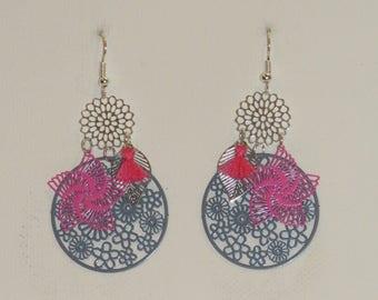 Earrings fuchsia pink, grey, silver, leaf earrings, flowers, prints, pompons, dangling earrings,