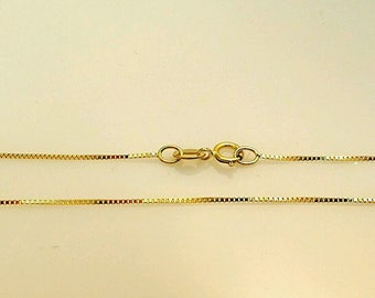 "14k Solid Yellow Gold Classic Box Necklace Pendant Chain 20"" Best price!!"