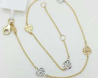 """14k Yellow Gold Diamond Cut Two Tone Heart Cable Chain Anklet 9"""" 10"""""""