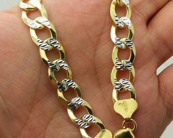 "925 Sterling Silver Italian Solid Yellow Pave Cuban Curb Link Chain 20""-30"" 10mm"