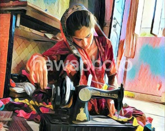 Indian woman with sewing machine - Art print on canvas - Square 12x12/24x24