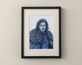 Jon Snow, Aegon Targaryen, Game of Thrones, Kit Harington, print of fan art portrait gouache painting