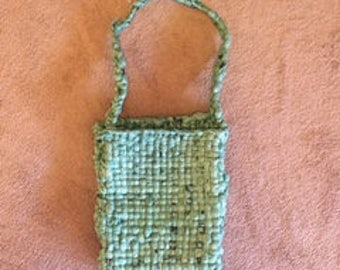 Woven Handbag made from recycled plastic grocery bags
