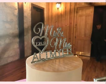Custom Wedding Cake Topper with Mr  and Mrs., custom name and date
