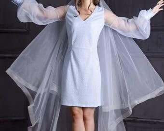 Blue  Horsehair Veil,  Horsehair Trim Veil,Cathedral Horsehair veil,Horsehair Chapel veil , Ivory fingertip veil, Cathedral veil, Blush veil