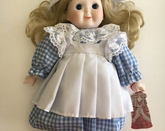 """Vintage Bradley Porcelain Bisque Doll """"Alison"""" With Stand 1988"""