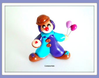 Le Cirque, Clown Miniature Personnage Fimo Fait Main