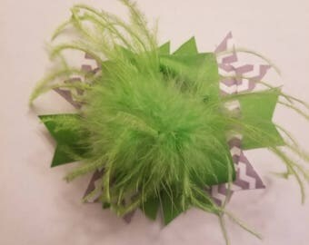 Affordable over the top Lime green and grey bow