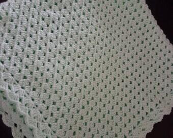 Mint green corner-to-corner crochet baby blanket