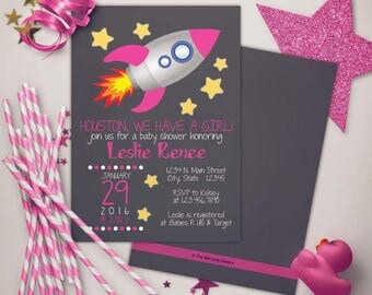 Outer Space Rocketship Baby Shower Pinks Invitation