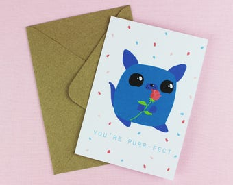 You're Purrfect Card / Cute Card / Love card / Anniversary Card / Cat Lover / Funny Cat Card / Card Greeting Card / Crazy cat lady.