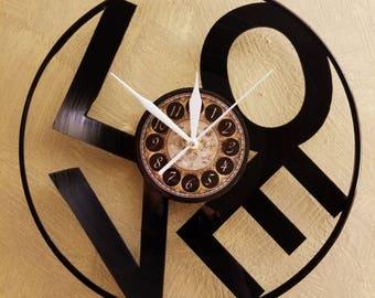 LOVE vinyl record clock