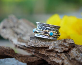Spinner ring turquoise turquoise ring meditation ring sterling silver