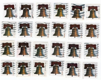 24 US Liberty Bell Stamps. Off Paper