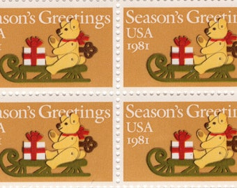 1981 - Teddy Bear on Sleigh - 20 Cent - Christmas - Mint-Unused- US Postage Stamps - Scott 1326 - Full Sheet (50)