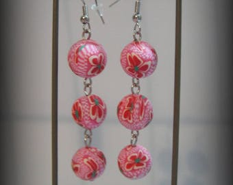 Fimo Rose bead earrings